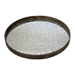 "Notre Monde - Moroccan Tray - The Moroccan tray offers mod intrigue in a round silhouette. Accented by a driftwood rim, this antique mirror dish features unique curved lines in an alluring circle pattern. 24"" Dia"