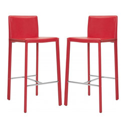 "Safavieh - Jason 30"" Bar Stool (Set Of 2) - Choose the 30 in Jason barstool for clean, contemporary seating at your kitchen counter or family room bar. With minimalist lines, stainless steel foot rails and an iron frame completely upholstered in bold red bonded leather, Jason will keep its good looks for years of active family service."