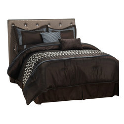 Circa Bedding Set - Queen - Featuring a beautiful feather pattern and a blue and brown color scheme this bedding set is a great addition to any bedroom. This set includes a comforter, bed skirt, two pillow shams, two euro shams and three different types of throw pillows.