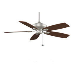 Fanimation - Fanimation Edgewood Decorative 52-inch Satin Nickel Ceiling Fan - This stylish satin-nickel ceiling fan features blades with a reversible finish to complement a wider range of decors and environments. The durable construction and easy installation of this fan provide the perfect way to cool your environment.