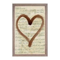 Love Letters Collection, Brown: Heart Art - Sweet, intimate, and charming, this rectangular art print features a romantic brushed heart painted in brown shoe polish for a softly rustic, bewitching transitional effect. In a layer behind the central shape, the sweet words of a vintage hand-written love letter spell out their affectionate message across an aged parchment background. The wall art piece is enclosed in a weathered grey wood frame to complete its neutral-colored, finely textured palette.