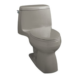 KOHLER - KOHLER K-3323-K4 Santa Rosa Compact Elongated Toilet with Toilet Seat - KOHLER K-3323-K4 Santa Rosa Compact Elongated Toilet with Toilet Seat, Cover and Left-Hand Trip Lever in Cashmere