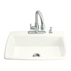 KOHLER - KOHLER Cape Dory Self-Rimming Kitchen Sink w/ Two-Hole Faucet Drilling - KOHLER K-5863-2-0 Cape Dory Self-Rimming Kitchen Sink with Two-Hole Faucet Drilling in White