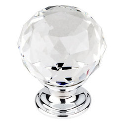 """Top Knobs - Clear Crystal Knob 1 3/8"""" w/ Polished Chrome Base - Width - 1 3/8"""", Projection - 1 6/8"""", Base Diameter - 15/16"""""""
