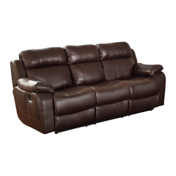 Homelegance - Homelegance Marille Double Reclining Sofa w/ Center Drop-Down Cup Holders in Bro - With either the extended stretch of the reclining sofa or soothing rock of the reclining chair, your comfort is taken care of in the Marille Collection. Drop-down cup holders add additional function to the collection. The set is covered in a warm brown polished microfiber, brown bonded leather match or black bonded leather match.