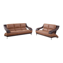 Global Furniture USA - U982 Two-Tone Brown Bonded Leather Three Piece Sofa Set - The U982 sofa set will add a stylish modern look to any decor it's placed in. This sofa set comes upholstered in a beautiful two-tone dark brown and light brown bonded leather in the front where your body touches. Skillfully chosen match material is used on the back and sides where contact is minimal. High density foam is placed within the cushions for added comfort. Each piece features features a open arm design that adds to the overall look of the sofa set. The price shown includes a sofa, loveseat, and chair only.