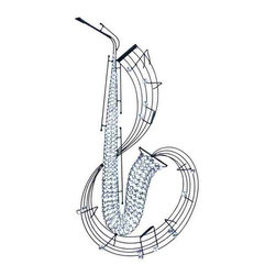 UMA - Glittering Sax Musical Wall Art - This glitzy saxophone is covered in clear, glistening beads and surrounded by a swirling staff of musical notes.