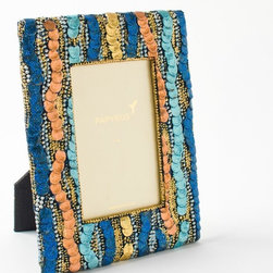 4x6 Beaded Sequin Frame - A frame like this shouldn't only be set out for the holidays. We love how it meets the fun and festive requirements of the season, yet it would be just as beautiful to welcome the warm summer breezes.