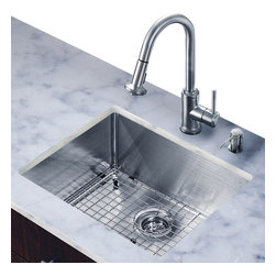 Vigo - All in One 23in.  Undermount Stainless Steel Kitchen Sink and Faucet Set - Create an inviting new look in your kitchen with a VIGO All in One Kitchen Set featuring a 23in.  Undermount kitchen sink, faucet, soap dispenser, matching bottom grid and sink strainer.
