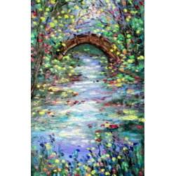 Springtime Country Bridge 12 X 24  (Original) by Jean Vadal Smith Bentson - From My Country Bridge series, this depicts springtime with light greens and yellow along with the gorgeous foreground blossoms. Colors blues, shades of greens, wine, pinks,  a touch of orange and a bit of browns in trees and bridge . White in rushing stream and a bit mixed into other colors for highlights. Lots of palette knife in the painting adding such nice texture.