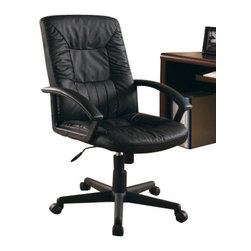 """Coaster - Office Chair (Black) By Coaster - Features: Plush seating for comfort Padded arms Gas lift Assembly required Finish: Black Dimensions: 27"""" W x 29"""" D x 40""""-45""""H"""