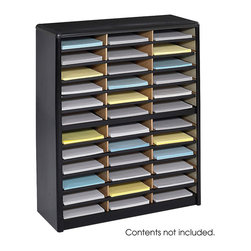 "Safco - Value Sorter Literature Organizer, 36 Compartment - Black - There's always value in organizing! To organize effectively you need the right tools for the right space. The Value Sorter will improve neatness and is a great addition to any mail room, office, school or store. Use compartments as a mailbox, material holder or stationary sorter. The steel shell comes complete with support shelves and a solid fiberboard back to ensure stability and durability. Compartments are formed with heavy-duty corrugated fiberboard. Unit has over-sized compartments that comfortably hold up to 550 sheets of letter-size paper. Compartments are wide enough to easily accommodate letter-size file folders. Wide shelf fronts have built-in label holders (labels included).; Features: Material: Steel (shell, support shelves), Corrugated Fiberboard (shelves); Color: Black; Finished Product Weight: 34 lbs.; Assembly Required: Yes; Tools Required: No; Limited Lifetime Warranty; Dimensions: 32 1/4""W x 13 1/2""D x 38""H"