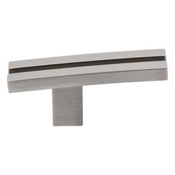 "Top Knobs - Inset Rail Knob 2 5/8"" - Brushed Satin Nickel - Length - 2 5/8"", Width - 5/8"", Projection - 1 1/8"", Base Diameter - 1/2"""
