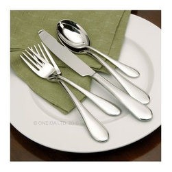 Oneida Icarus - Set of 45 - Perfect for daily use, the Oneida Icarus - Set of 45 enhances the experience of dining. This set contains eight place settings, with each setting comprising essentials like a serving fork, a serving spoon, a salad fork and a dinner knife. Constructed of 18/0 stainless steel, each piece is durable and corrosion-resistant. Because it's dishwasher-safe, this set is also easy to clean. Simple yet graceful, each piece of flatware has a full-bodied handle for a firm and comfortable grip.