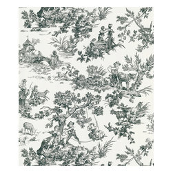 """Beacon House - Limoges White Toile Wallpaper - This French-inspired bucolic design will make you say """"Ooh la la"""" every time you walk in the room. This prepasted, non-woven material wallpaper was made in the United Kingdom, and is built to last. This versatile roll gives you 56.38 square feet of washable, strippable, elegant paper."""