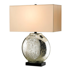 """Kathy Kuo Home - Micro Star Antique Mercury Glass Modern Wide Rectangle Lamp- 26""""H - Designed to be used as a table or mantel lamp, this transitional design transcends styles from modern contemporary to vintage eclectic.  The shade is a micro star silk shantung fabric."""