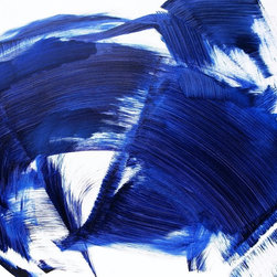 Ocean Artwork - Sapphire Blue Ocean--Striking, Vibrant Color Field.  Fresh, Tranquil Energy.  Expressive.  Acrylic, Mixed Media on Canvas.  Ready to hang, sides painted.  For home or business.  High quality materials, Protective Finish enhances color.  Professional