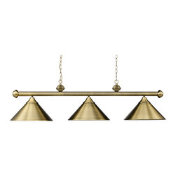 Elk Lighting - Casual Traditions 3-Light Billiard/Island in Antique Brass with Metal Shades - These collections provide simplified elegance with beautiful variations of metal and glass. These triple light models work well over a pool table or kitchen island to provide optimal illumination and a touch of class.