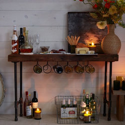 Industrial Wine Console - This is perfect if you don't store a lot of bottles and need a multifunctional piece. Keep a few bottles close at hand and use the tabletop as a bar or decorative display.