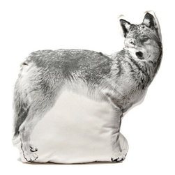 Fauna - Wolf Pillow - Black On Natural - You may never welcome an actual wolf into your home, but what's stopping you from adding this cute pillow to your sofa? It's the perfect touch of wild energy and whimsy to liven up any room. And it's designed and made in the USA. What's better than that?