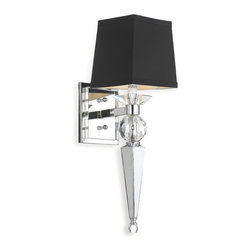 Kathy Kuo Home - Kent Hollywood Regency Crystal Black 1 Light Sconce - Transform any room in your home into a bistro with this classic sconce reminiscent of the kind seen in old Hollywood cafés. Just turn your light on and look around for Bogart and Bacall.