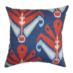 "The Pillow Collection - Sakon Ikat Pillow Blue Red 18"" x 18"" - This chic throw pillow is a standout piece perfect for your living room, bedroom or guestroom. The traditional ikat pattern in this accent pillow provides a visual statement to your interiors. Bold colors like red, blue and white are combined to form this tribal-inspired decor pillow. Place this square pillow on top of your couch, seat or bed. Made from 100% high-quality cotton material, which is easy to clean and maintain. Hidden zipper closure for easy cover removal.  Knife edge finish on all four sides.  Reversible pillow with the same fabric on the back side.  Spot cleaning suggested."