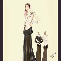 """Buyenlarge.com, Inc. - Eveningwear in Black and White - Fine Art Giclee Print 24"""" x 36"""" - Another high quality vintage art reproduction by Buyenlarge. One of many rare and wonderful images brought forward in time. I hope they bring you pleasure each and every time you look at them."""