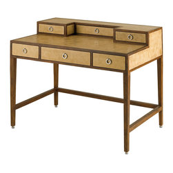 Kathy Kuo Home - Balamor Hollywood Regency Reclaimed Wood Antique Parchment Desk - This artistic, antique desk is as handsome as it is functional. The desktop is finished with hand-made parchment and accented by reclaimed mahogany trim. Six drawers with wrought iron ringed drawer pulls offer ample storage for your supplies.