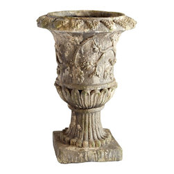 Cyan Design - Cyan Design Athens Traditional Planter X-86260 - Intricate nature-inspired details have been paired with a classic European design on this Cyan Design planter. From the Athens Collection, this traditional planter pairs its Greek inspired details with a Moss finish, which adds a faux aged appeal to the resin body.