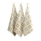 BZDesign - Hand Block Printed Tea Towel Gold Squared - Hand block printed tea towels with our squared print in gold.