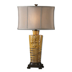 Uttermost - Alfiano Crackled Yellow Table Lamp - Fleur-de-lis fabulous. This elegant yellow crackle-finished table lamp boasts a large fleur-de-lis cross and a solid bronze footed base. Topped off with a handsome, taupe-linen drum shade, it's ready to be the bright spot in your European traditional sitting room or bedroom.