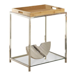 Convenience Concepts - End Table with Bamboo Tray - Removable tray. Tempered glass shelf and top. Limited warranty. Made from chrome plated steel. Assembly required. 18 in. W x 18 in. D x 24 in. H (25 lbs.)Exciting new design from Convenience Concepts. Inc. that combines urban design and multi-function use.