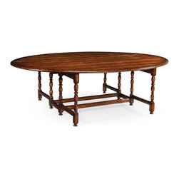 Jonathan Charles - Oval Walnut Gateleg Table (Large) - Country style large oval Walnut gateleg dining table with a planked top Seats: 10 to 12. FIN-WAL-02-1 (Medium Walnut Medium Walnut with Carved Floral Detail)
