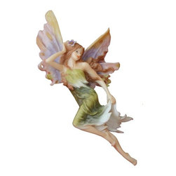TLT - 12 Inch Hand Painted Colorful Resin Flying Fairy Wall Plaque - This gorgeous 12 Inch Hand Painted Colorful Resin Flying Fairy Wall Plaque has the finest details and highest quality you will find anywhere! 12 Inch Hand Painted Colorful Resin Flying Fairy Wall Plaque is truly remarkable.