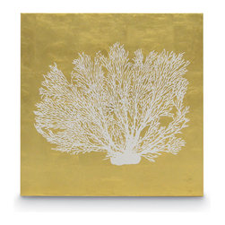Palecek - Sea Fan Coral Wall Decor - Gold leafing over a canvas backing with hand-stenciled coral pattern. Some imperfections can be expected as actual pieces of gold leaves are hand-applied on each panel. Metal hardware on top back for hanging.