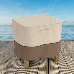 Classic Accessories - ottoman/end table cover (fits up to 28w 38d 17h) - Gardelle® protective fabric system features an elegant fabric top with a water-repellent PVC under-coating and a protective splash guard skirt. Tough interlocking seams add strength and durability. Special treatments ensure fabric won‰Ûªt crack in cold weather.
