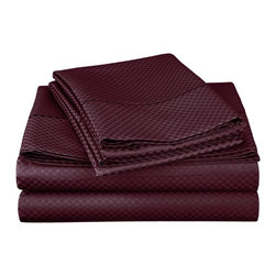 "Cotton Rich 800 Thread Count Microchecker Sheet Set - Full - Plum - Dress up your bedroom decor with this luxurious 800 thread count Cotton Rich microchecker sheet set.  These sheets are made of a superior quality blend of 55% Cotton and 45% Polyester making them soft, wrinkle resistant, and easy to care for. Set includes: (1) Fitted Sheet 54""x75"", (1) Flat Sheet 81""x96"", and (2) Pillowcases 20""x30"" each."