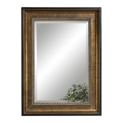 Bassett Mirror - Gold Rectangle Wall Mirror - Burnished and Antique Gold. Measures: 36 in. W x 48 in. H.