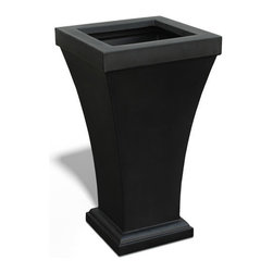 Mayne Inc. - Bordeaux Tall Planter Black - The Bordeaux Tall Planter offers up the right balance of style and durability that you should expect from a high quality polyethylene product. What a great way to accent your outdoor patios and terraces. This compact size is also perfect for flanking entrances and garage doors.  Single wall molded design, made with high-grade polyethylene.  Drainage holes to be pre-drilled by customer depending on desired use of the planter.  Self watering tray insert creates sub-irrigation water system and encourages root growth.  Opening is 11.25in x 11.25in.  Approximately 6.5 gallon soil capacity, water capacity is approximately 5 gallons.   15-year limited warranty.