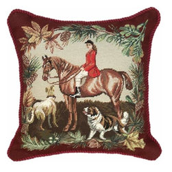 123Creations - Hunt Needlepoint 20 x 20 Pillow - 100% Wool Hand Embroidered  123Creations - C645-20X20