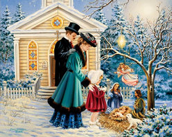 Murals Your Way - A Christmas Prayer Wall Art - A little girl says a prayer at an outdoor nativity scene in this Christmas-themed wall mural