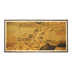 "Oriental Furniture - 36"" Ching Ming Festival - This motif is a beautiful rendering of an ancient cultural festival celebrating Ching and Ming dynastic achievements. Subtle, beautiful hand painted wall art. Note that no two renderings are exactly the same."