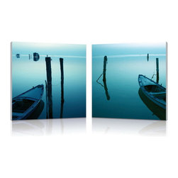 "Baxton Studio - Baxton Studio Idle Shore Mounted Photography Print Diptych - With an overcast sky during dusk, the bay takes on an eerie glow before nighttime takes hold. This is a diptych: a single photo split for display on two separate frames, intended to be placed adjacent to one another. Each portion of the image is printed on waterproof vinyl canvas before being mounted to an MDF wood frame. The modern wall art set is made in China, is ready to hang, but does not include wall hanging hardware. To clean, wipe with a dry cloth. Product dimension: 19.68""W x 1""D x 19.68""H"