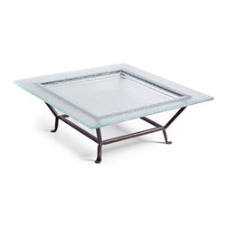 Danya B. - Large Square Textured Glass Plate on Raised Iron Stand - Make a bold serving statement when you use this square tray with textured glass to present your epic dessert. The flat, recycled glass surface is the perfect base for cakes, flan or a selection of cheese.