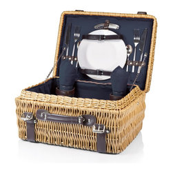 Picnic time - Champion- Picnic Basket for 2, Navy - The Champion picnic basket has deluxe service for two, including two wine glasses, two porcelain plates, stainless steel flatware, and two napkins that match the basket's interior. Made of willow with dark brown leatherette accents, the Champion has full-wrapping closure straps, an overlapping lid, and sturdy suitcase-style leatherette handle. Available navy interior lining and matching napkins.