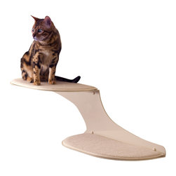 Cat Clouds Cat Shelf in Off White - White and fluffy, with faux sheepskin pads, this double cat shelf seems to float on your wall like a couple of clouds. What better place for your cat to land? He'll love the soft pad and the lofty height overlooking the room; you'll love how it blends subtly into the wall and keeps the kitty off your furniture.