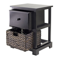 Winsome - Winsome Casablanca Espresso Accent Table with Folding Basket - Winsome - Accent Tables - 92917