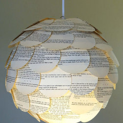 Paper Chandelier, Book Pages by Nodak Mama - Using recyclable materials can be as simple as repurposing the beautiful pages of a book. Etsy artist Nodak Mama does just that with this creative paper pendant.