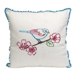 IMAX CORPORATION - Clora Embroidered Bird Pillow - With bold and bright colors, the Clora embroidered bird pillow has a cotton twill fabric and blue ruffle trim. Find home furnishings, decor, and accessories from Posh Urban Furnishings. Beautiful, stylish furniture and decor that will brighten your home instantly. Shop modern, traditional, vintage, and world designs.
