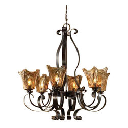Uttermost Vetraio 6Lt Oil Rubbed Bronze Chandelier - Oil rubbed bronze. Heavy hand made glass is held in classic european iron works giving these pieces a contemporary quality, with strong traditional appeal as well.